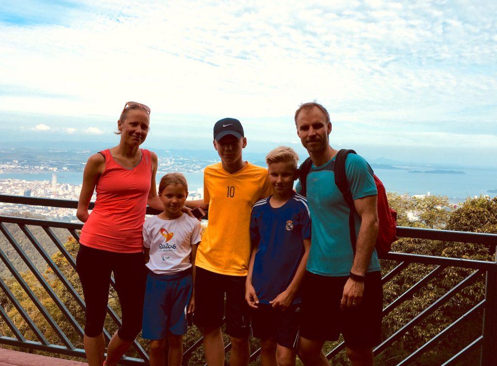 Matti Kontsas and his family in Malesia